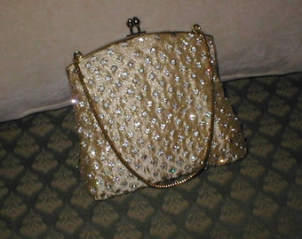 Vintage Rhinestone Gold Evening Purse