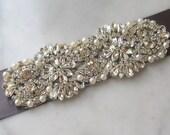 "Pewter Grey Rhinestone & Pearl Sash, Dark Gray Wedding Belt, Crystal Bridal Sash, 5.25"" of Rhinestones - SMOKE"