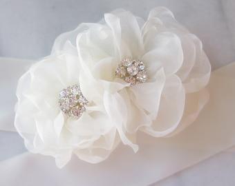 Ivory Bridal Sash, Rhinestone and Organza Flowers, White, Off White Diamond White, Champagne Wedding Belt, Custom Colors - CADDIE
