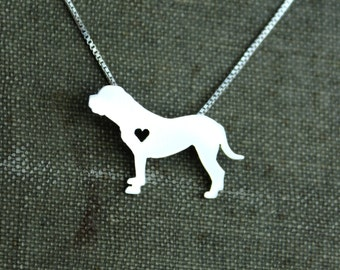 Bullmastiff necklace sterling silver, tiny silver hand cut dog pendant with heart,