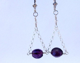 Amethyst and Chain Earrings