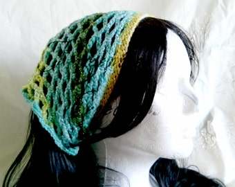 Blue/Green Sparkle Crochet Kerchief