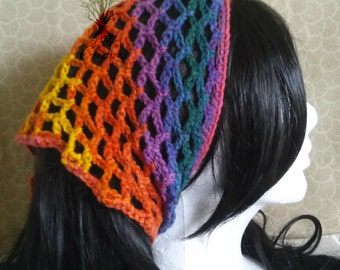 Bright Rainbow Crochet Kerchief