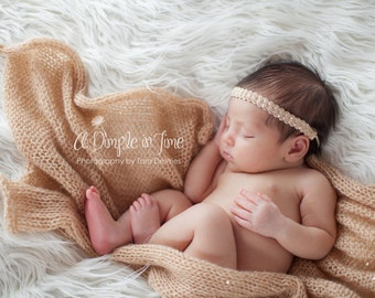 Knit Baby Blanket, Newborn Mohair Wrap Headband Set, Infant Photography Prop, Cocoon, Golden Sand, Summer Neutral