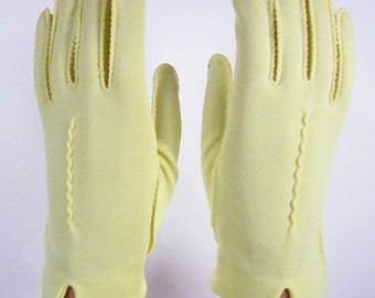6-1/2-Vintage Yellow Decorative Dress/Church/prom Gloves - 8 inches long(124g)