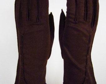 6-1/2-Vintage Womens Dark Brown Dress/Church/prom Gloves - 9-1/2 inches long(123g)