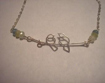 aquamarine and lovebird necklace