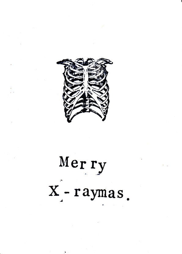 Merry X-Raymas Card Skeleton Anatomy Science X-Ray Atheist