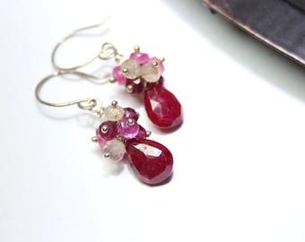 Gemstone Earrings Dangle Cluster Ruby Golden Rutilated Quartz Rhodolite Garnet Sterling Silver Handmade OOAK July Birthstone