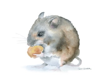Watercolor Painting Mouse Giclee Print Reproduction - 10 x 8 / 11 x 8.5 - Field Mouse - Nursery Art