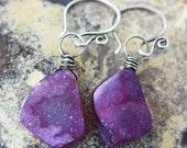 FREE SHIPPING---Grape Purple Asymmetrical Druzy Agate Dangle Earrings---Sterling Silver---Creations by Sandy