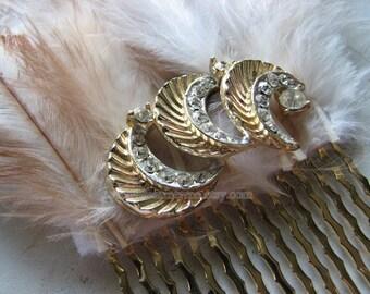 Rhinestone hair comb | moon headpiece | vintage | gold hair piece | decorative | Final Sale