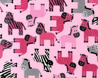Zebras in Pink, Urban Zoologie Collection by Anne Kelle, Robert Kaufman Fabrics, 1 Yard Total