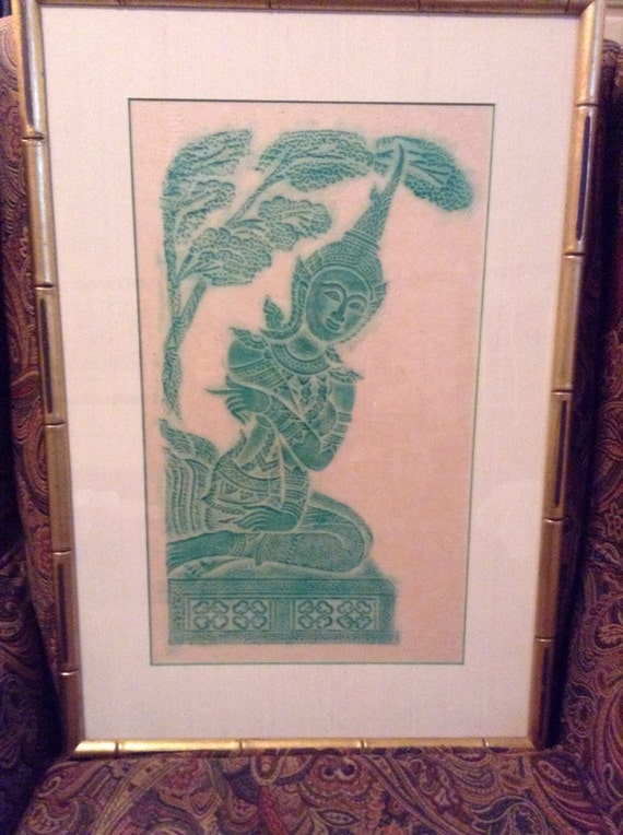 Thai Temple Rubbing Angkor Wat Temple Framed Wall Hanging