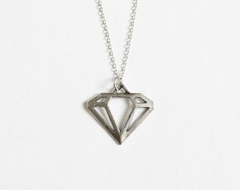 Silver Diamond Shape Necklace