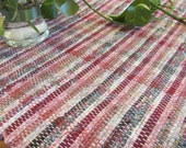 Cranberry Red Rag Floor Rug or Table Cover, Traditional Primitive Country Cottage Chic Cabin Farmhouse Home Decor, Handwoven Recycled Cotton