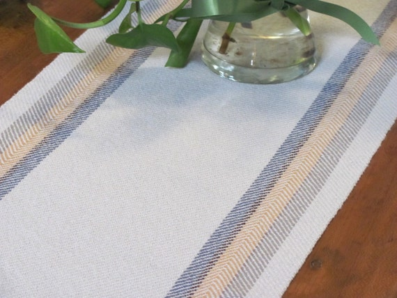 "Light Blue Stripe Cottage Chic Table Runner, Rustic Farmhouse Country Cabin Winter Spring Summer Home Decor, Artisan Handwoven 30""Lx11""W"