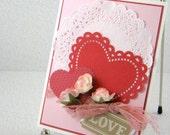 Valentines Day Card Handmade Romantic Roses Valentine