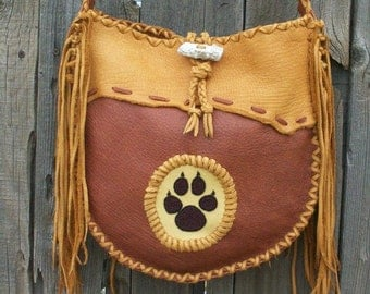 Leather tote with beaded wolf paw totem , Large leather crossbody tote, Designer handbag, Fringed leather handbag , Custom handbag