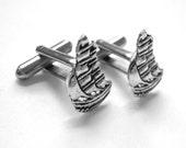 Pirate Ship Cufflinks - Silver Mens Cufflinks Mens Cuff Links Nautical Cufflinks