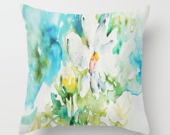 Daisy doodle in Watercolor PILLOW white bright flower art Fine Art Home Decor Throw Pillow cover