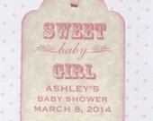 20 Sweet Baby Girl Shower Favor Gift Tags / Place Cards / New Baby Girl Labels Tags / Pink Baby Shower Tags - Vintage Style
