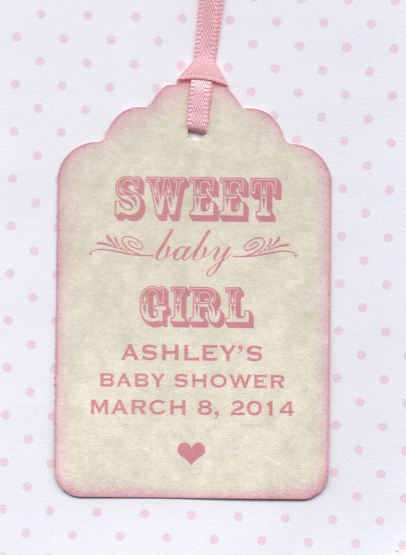 20 baby shower tags sweet baby girl favor tags vintage style