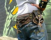 Convertible Brown and Antique Brass Steampunk Dieselpunk Utility Belt Bag with Tons of Options