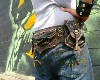 Gaucho Convertible Brown and Antique Brass Steampunk Dieselpunk Utility Belt Bag with Tons of Options