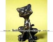 Vintage Retro Cat Statue miniature bronze photograph