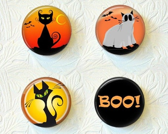 Halloween Magnet Set of 4   Cats  Ghost  BOO Buy 3 Get 1 Free  008-H