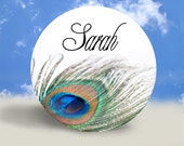 Peacock Feather Pocket Mirror, Magnet, or Pinback Button - Personalized - 2.25 Inches