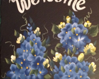 Hand painted Slate Welcome Sign BLUE HYDRANGEAS, Pink or yellow roses
