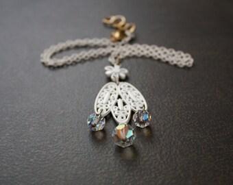 White Filigree Enameled Necklace with Vintage Aurora Borealis Crystal Bead Dangles
