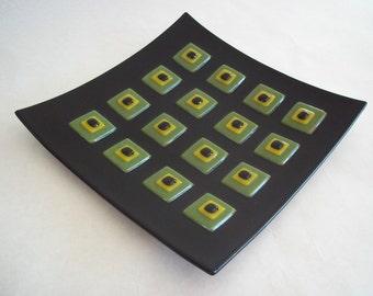 FUSED GLASS SALE -Square Glass Plate, Black Home Decor, Geometric Design, Large Plate, Mid Century Modern, Decorative Glass Plate, Glass