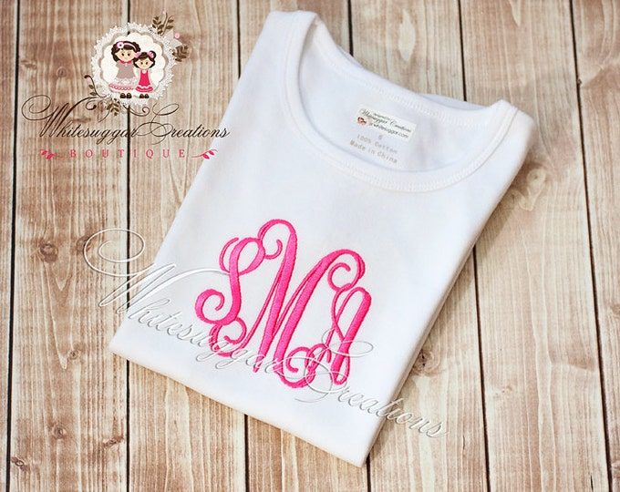 Girls Elegant Monogram Shirt - Custom Personalized Shirt - Baby Girl Outfit - Baby Shower Gift