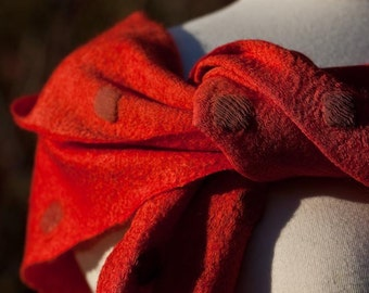 Red Nuno Felted Silk and Merino Wool CONFETTI  SCARF