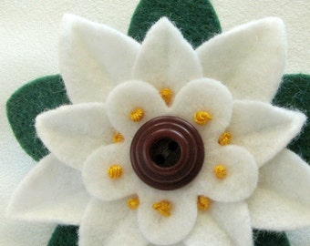 Christmas White Felt Flower Pin - Poinsettia with Vintage Garnet Button and French Knots