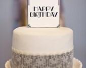 Art Deco Square Cake Topper: Happy Birthday