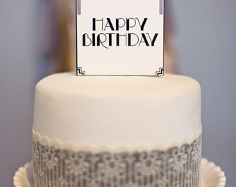 Art Deco Square Cake Topper: Happy Birthday