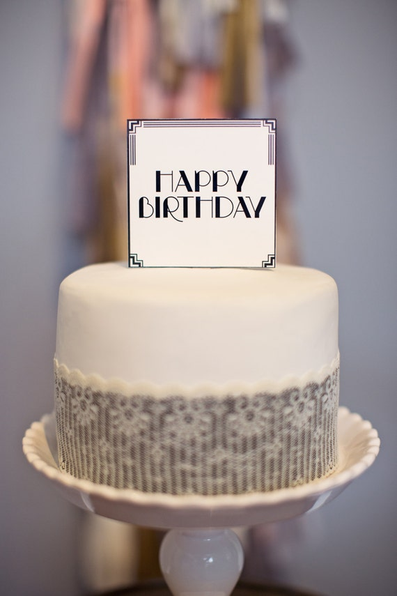Art Deco Square Cake Topper Happy Birthday