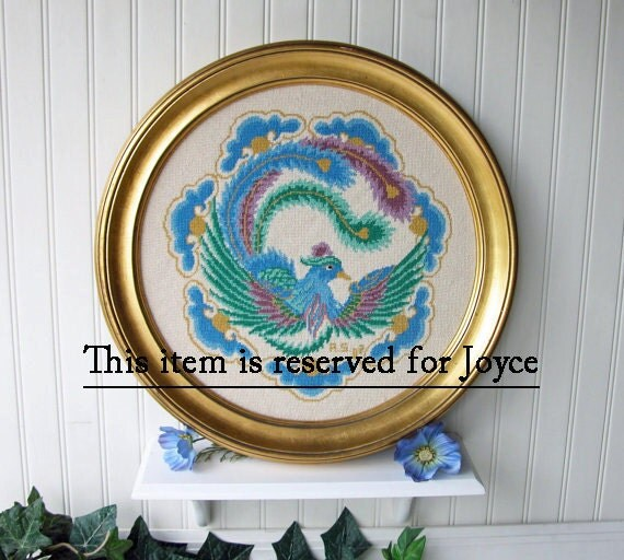 Reserved for Joyce. Round Framed Vintage Needlepoint