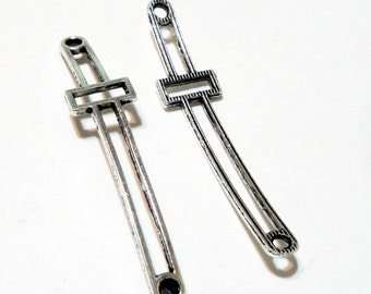 Cross Necklace Connector - Long Silver Sideways Cross Link - Hollow Blank Cross Charm - 2 loops Curver Cross - DIY Bulk Finding - 4 Pcs