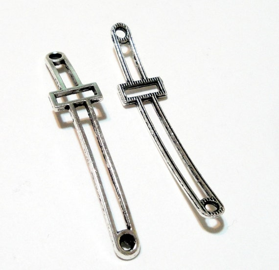 Cross necklace connector long silver sideways link