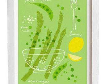 Kitchen Art Print - Asparagus & Pea Pasta Recipe - Kitchen Decor - high quality fine art print - Giclee
