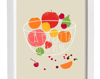 "Fruit Kitchen print La Frutta /light background/ 8.3x11.7"" - archival fine art giclée print"