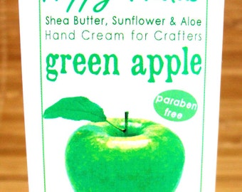 Green Apple Fresh Scented Hand Cream for Knitters - 2oz Travel Size HAPPY HANDS Shea Butter Hand Lotion