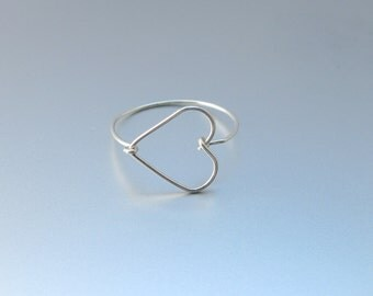 Dainty Heart Ring-Wire Heart Jewelry-Best Friend Ring-Best Friend Gift-Wire Wrapped Ring-Sterling Silver-Gold-Rose Gold