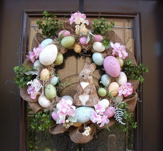 Easter Egg Wreath, Easter Bunny Wreath, Front Door Wreath Burlap, Easter Decor, Wreaths for the Door