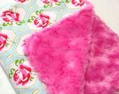 Baby Girl Comfort Blanket ~ Minky and Cotton ~ 18 x 24 inches ~ Carrier Blanket ~ Stroller Blanket ~ New Baby Girl Gift ~ Baby Shower Gift